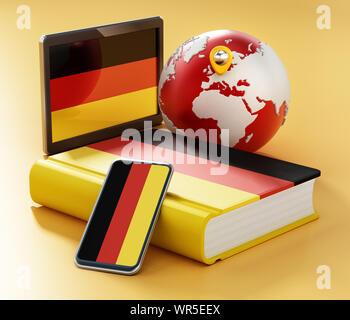 Wörterbuch, Smartphone und Tablet-PC mit deutscher Flagge auf dem Globus. 3D-Darstellung. - Stockfoto