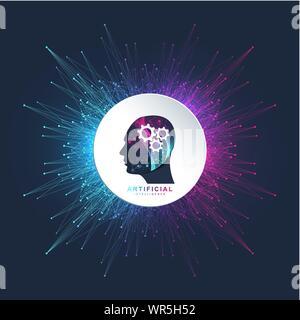 Künstliche Intelligenz logo Vektor Symbol AI Banner. Cloud Computing Konzept. Data Mining und maschinelles Lernen neuronale Netzwerk Programmierung. Technologie - Stockfoto
