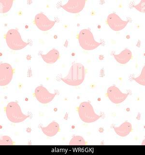 Nahtlose Muster der niedlichen rosa Vögel und Blumen. Vektor Bild für Mädchen. Abbildung für Urlaub, Baby, Geburtstag, Textil, Verpackung, Gruß ca - Stockfoto