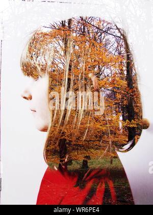 Digital Composite Image der jungen Frau mit Bäume im Herbst - Stockfoto