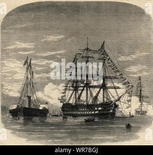 Prinz von Wales (Edward VII) einschiffen HMS Hero bei Plymouth für Kanada 1860 - Stockfoto