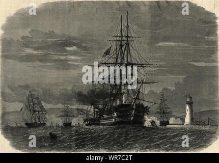Prinz von Wales (Edward VII) Abflug Plymouth Sound für Kanada. Devon 1860 - Stockfoto