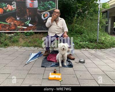 Ein Mann spielt die Mundharmonika vor dem Hauptbahnhof in Erlangen und bittet für den Wandel mit seinem Hund, Deutschland. - Stockfoto
