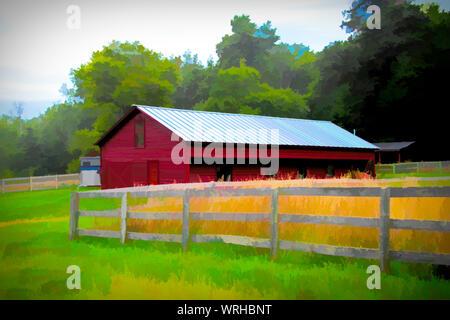 Ein Bauernhof in ländlichen Upstate NY. Viele Betriebe mussten schließen. - Stockfoto