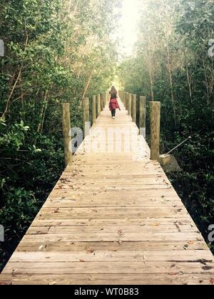 Ansicht der Rückseite Frau gehen auf hölzernen Pier inmitten von Bäumen - Stockfoto