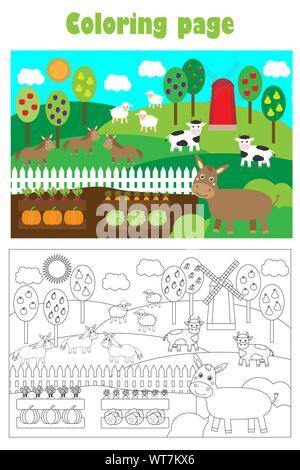 Bauernhof Tiere und Garten, Cartoon Stil, Färbung, Bildung Papier Spiel für die Entwicklung der Kinder, Kinder im Vorschulalter Aktivität, bedruckbar - Stockfoto