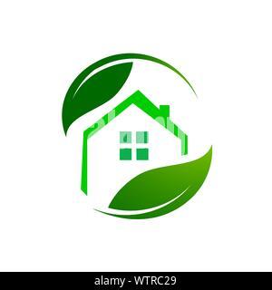 Umweltfreundliche green building logo Vektorgrafiken - Stockfoto