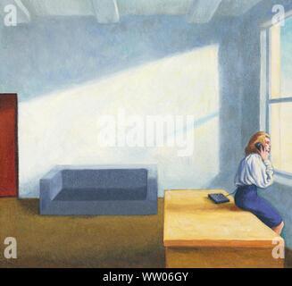 Frau am Telefon Blick aus Fenster in leeren Büro - Stockfoto