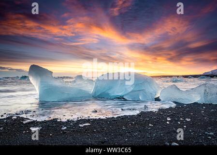 Jokulsarlon Gletschereis Lagune in Island - Stockfoto
