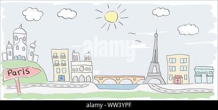 Kind farbige Zeichnung der Stadt Paris in Frankreich mit Eiffelturm - Stockfoto