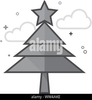 Christmas tree Symbol in flachen Umrissen Graustufen Stil. Vector Illustration. - Stockfoto
