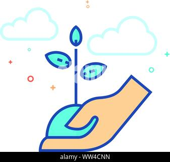 Hand Baum Symbol in Umrissen flachen Farbe Stil. Vector Illustration. - Stockfoto