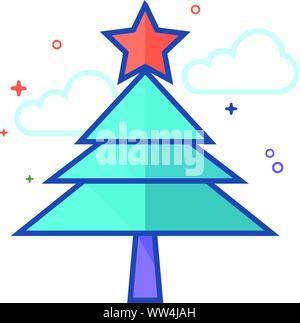 Christmas tree Symbol in Umrissen flachen Farbe Stil. Vector Illustration. - Stockfoto