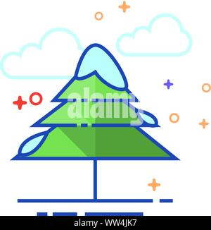 Pine Tree Symbol in Umrissen flachen Farbe Stil. Vector Illustration. - Stockfoto