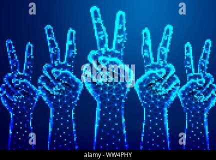 Zwei Finger auf der Hand Frieden oder Stärke zu zeigen. Abstrakte Low Poly. Drahtmodell Design. - Stockfoto