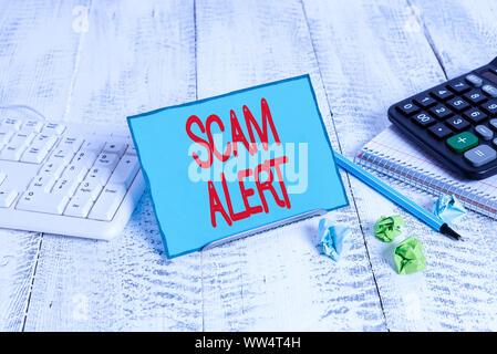 Text Zeichen angezeigt Scam Alert. Business Foto Text unerwünschte Werbe-E-Mails, die behauptet, die Aussicht auf ein Schnäppchen - Stockfoto