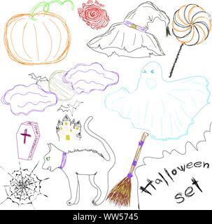 Halloween Icons eine Sammlung von Spaß Halloween Symbole. Zeichnung Zeichnung. Vector Illustration - Stockfoto