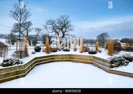 Elegantes, modernes Design, Landschaftsgestaltung und Bepflanzung auf hölzernen angehoben (formgehölze & Gräser) - Schnee Winter Garden, Yorkshire, England, UK. - Stockfoto