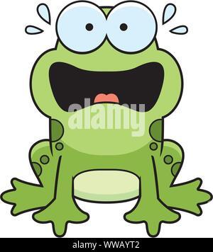 Angst, eine Cartoon-Illustration eines Frosches auf der Suche. Stockfoto