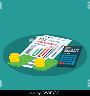 Steuer Dokument, Rechner, Münze, Geld für steuerliche Begriff Vektor illustration - Stockfoto