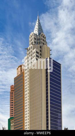 LAS VEGAS, NV, USA - Februar 2019: Die New York New York Hotel am Las Vegas Boulevard, die auch als das Las Vegas Strip bekannt ist. - Stockfoto