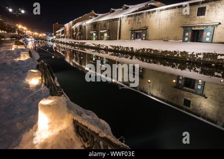 Nachtansicht von Otaru Canal, in Hokkaido, Japan - Stockfoto