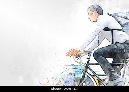 Abstrakte farbenfrohe Geschäftsmann mit dem Fahrrad auf dem Fahrrad auf Aquarell illustration Malerei Hintergrund. - Stockfoto
