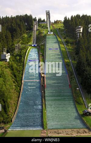 Skisprung arena Bin Kanzlersgrund in der Nähe von Oberhof. - Stockfoto