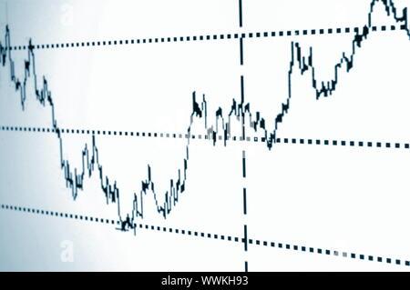 Die Grafik oder den Aktienkurs auf dem Bildschirm des Displays - Stockfoto