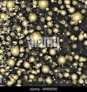 Golden Schneeflocken wirbeln auf schwarzem Hintergrund. Schneefall in der Nacht. Neues Jahr, Weihnachten. - Stockfoto