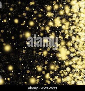 Golden Schneeflocken wirbeln auf schwarzem Hintergrund. Schneefall in der Nacht. Neues Jahr Weihnachten. Auf einen Bl - Stockfoto