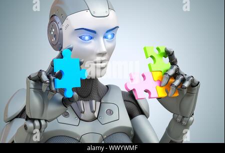 Roboter sammelt Puzzle. 3D-Illustration, - Stockfoto