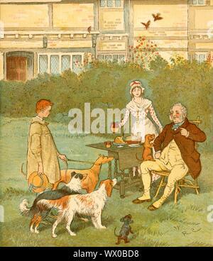 """Die Bäuerin Jungen mit Hunden seines Meisters, c 1881. """"Wenn ich ein Bauer war, ein Landwirt Junge, ich benutzte Hunde meines Master' zu halten. Die Bäuerin Junge, trägt einen Kittel, steht deferentially vor seinem Arbeitgeber, ist eine Mahlzeit auf dem Rasen serviert wird. Von """"Farmer's Boy"""" geschrieben und von Randolph caldecott dargestellt. [Ursprünglich im Jahre 1881 als Teil der Caldecott's 'Bilderbuch' Serie veröffentlicht] - Stockfoto"""
