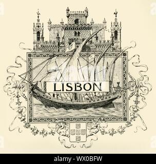 'Lissabon', Ende des 19. Anfang des 20. Jahrhunderts. Dekorative Wappen für die Stadt Lissabon, die Hauptstadt von Portugal. Eine Karavelle bezeichnet die Städte Seefahrt, während die fünf Türme der Kapital- und Stadt Status anzeigen. - Stockfoto