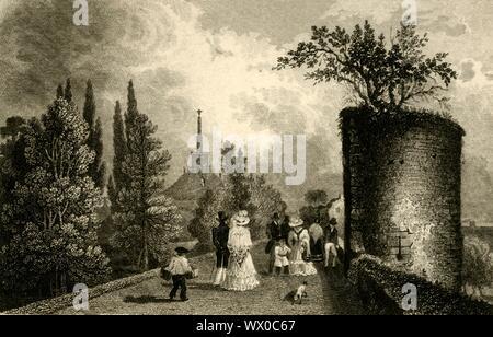 """""""Anejohn Hill, Canterbury, Kent"""", 1829. Der Däne Johannes Damm, einem ehemaligen Römischen Friedhof, wurde in eine Motte umgewandelt - und - Bailey Burg im 11. Jahrhundert. Das Gebiet wurde als stadtpark zwischen 1790 und 1803 gelegt. [G. Tugend, London, 1829] - Stockfoto"""