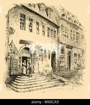"""""""Händels Geburtshaus, Halle, Sachsen, 1907. Der deutsche Komponist Georg Friedrich Händel (1685-1759) war in der Halle in Sachsen (Halle/Saale), Sachsen-Anhalt, Deutschland geboren. Von """"Story-Lives Musikern"""", die von F.J. Rowbotham. [Wells Gardner, Darton &Amp; Co. Ltd, London, 1907] - Stockfoto"""