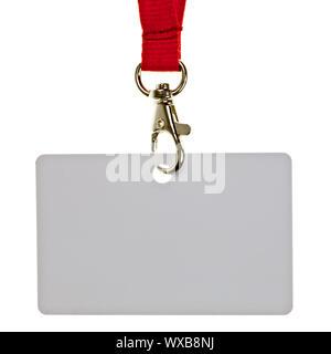 Leere Plakette mit rotem Halsband auf weißem Hintergrund - Stockfoto