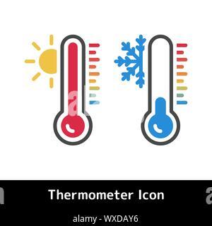 Thermometer Symbol für heiße und kalte Temperatur Symbole, Vektor, Abbildung - Stockfoto
