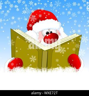 Santa ist ein Buch lesen am Heiligabend. Winter Hintergrund mit Schneeflocken. Winter lesen Santa Claus. - Stockfoto