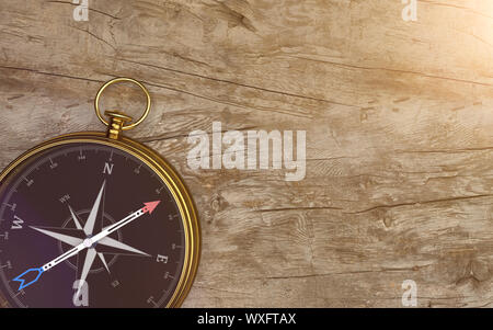 Goldene Kompass Holz- Hintergrund - Stockfoto