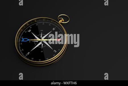 Goldene Kompass dunklen Hintergrund - Stockfoto