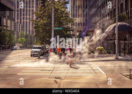 Seattle, Washington, USA - Straßen in der Stadt in den Morgen - Stockfoto