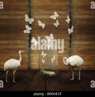 Fantasy künstlerische Komposition mit einem Hasen in einem Glas, Schmetterlinge und zwei weiße Strauß - Stockfoto