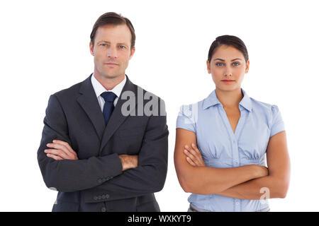 Co-Arbeitnehmer stehen neben einander auf weißem Hintergrund - Stockfoto