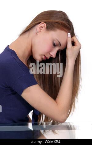 Frau Stress leiden - Stockfoto