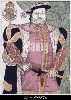 König Heinrich VIII. von England, 1491 - 1547. Gravur nach einem Gemälde von Hans Holbein. Später einfärben.
