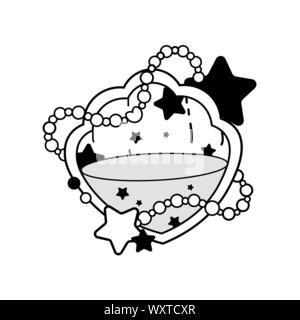 Schlüsselbund in der Form der Schalen magic Flaschen. Tattoo Design, Magic Symbol. Mit trank Flasche. Isolierte Vector Illustration. Malbücher, spirituali - Stockfoto