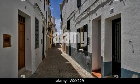 Panoramablick auf traditionellen Straßen in Menorca Ciutadella - Stockfoto