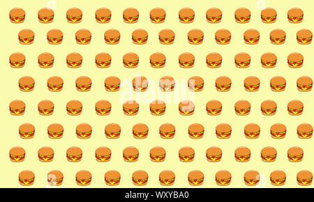 Cartoon Stil Abbildung: Burger, Pizza, Sandwich und Hot Dog. Fast Food nahtlose Muster. Hand gezeichnet Essen Hintergrund. Vorlage für die Gestaltung der Website. - Stockfoto
