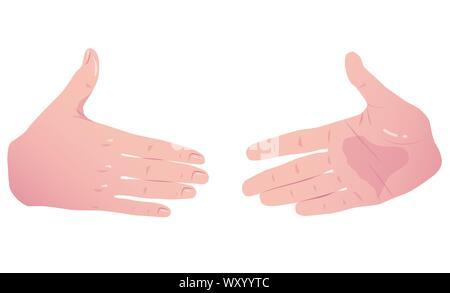 Zwei Hände vor dem Händedruck. Vektor Flachbild Konzept isoliert auf weißem Hintergrund. - Stockfoto
